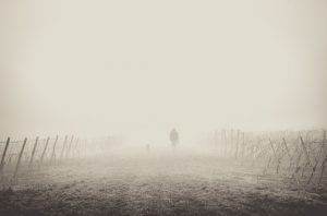 person walking away in fog