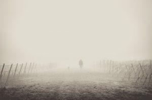 person walking away in fog